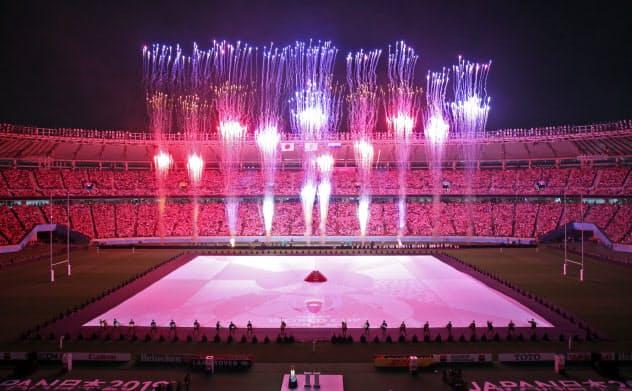 開幕戦を前に行われたラグビーワールドカップの開会式(20日、東京都調布市の東京スタジアム)