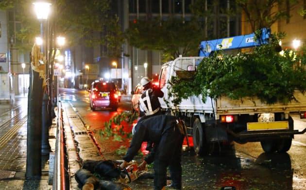 台風17号の強風で倒れた、福岡市内の街路樹を撤去する作業員(22日午後10時)=共同