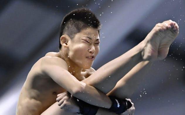 男子高飛び込み決勝 優勝した玉井陸斗(23日、金沢プール)=共同