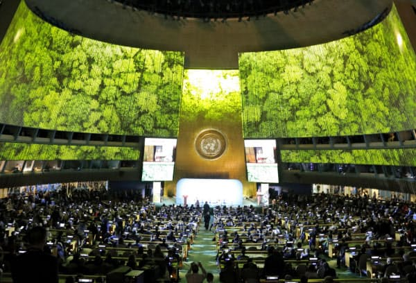国連本部で開かれた気候行動サミット(23日、ニューヨーク)=ロイター