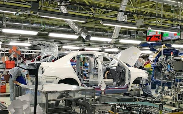 TMEJの大衡工場ではモーターなどの動力を使わずに生産性を高める「からくり改善」を毎年、14~33項目実行している(宮城県大衡村)