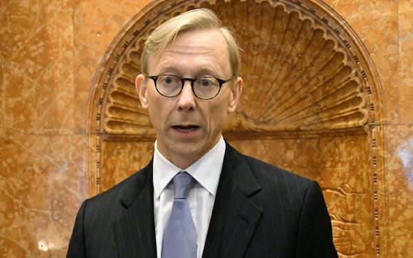 米国務省のフック氏は「イランを外交的に孤立させることが中東の緊張緩和につながる」と主張した(24日、ニューヨーク)