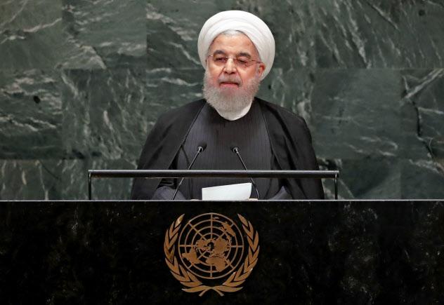 25日、国連で演説するイランのロウハニ大統領