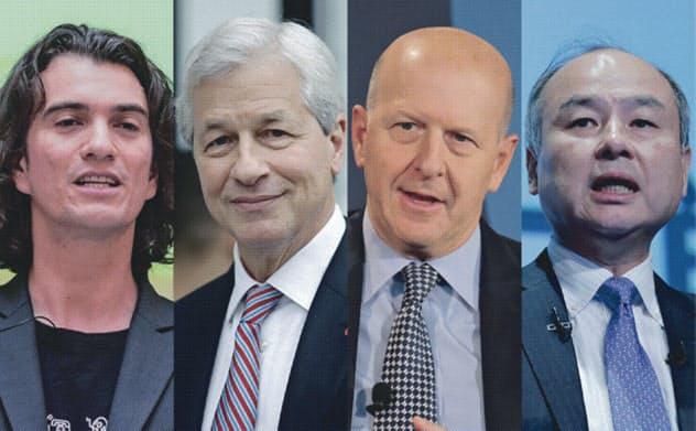 左から、ウィーワークのアダム・ニューマン氏、JPモルガンのジェイミー・ダイモン氏、ゴールドマンのデービッド・ソロモン氏、ソフトバンクの孫正義氏=ロイター