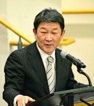国連本部で演説する茂木外相(25日、米ニューヨーク)