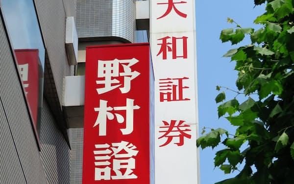証券会社の店頭に掲げられた看板(東京・品川)