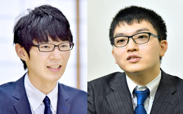 斎藤慎太郎王座(左)と永瀬拓矢叡王