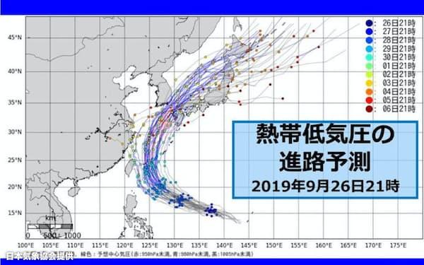 台風18号の進路予測(9月26日午後9時現在。多くが日本海北上を予想していた。欧州の気象機関の情報に基づき日本気象協会作成)