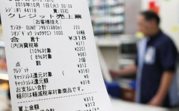消費増税に対応したコンビニのレシート(1日未明、東京都品川区)