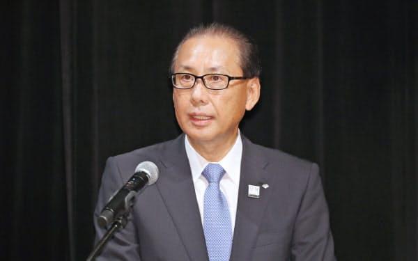 講演する野村証券の森田社長(1日、東京・大手町)