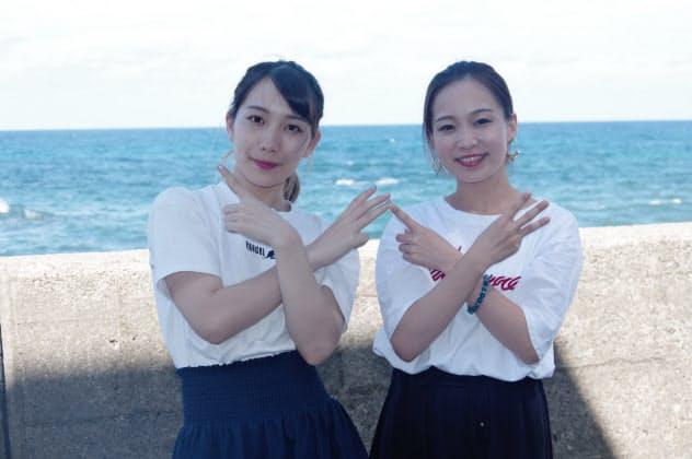 福井発の伝統工芸アイドル「さくらいと」の2人、左がKANAE、左がMAI