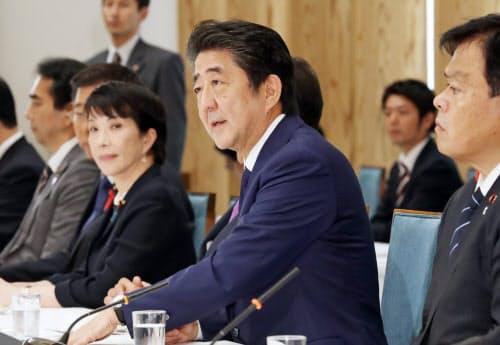 政府・与党連絡会議であいさつする安倍首相(1日、首相官邸)