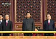 1日、中国中央テレビが放映した、中国建国70年の記念式典に出席する(左から)胡錦濤前国家主席、習近平国家主席、江沢民元国家主席(共同)