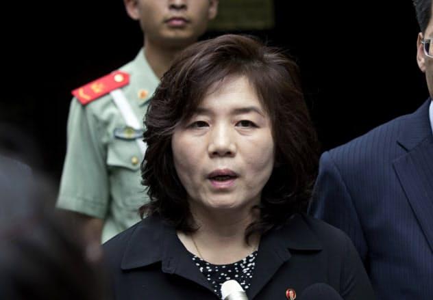 北朝鮮の崔善姫(チェ・ソンヒ)第1外務次官は談話で米朝協議の進展に期待感を示した=AP