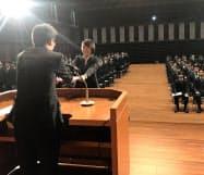 JR九州では95人が内定式に臨んだ(1日、福岡市)