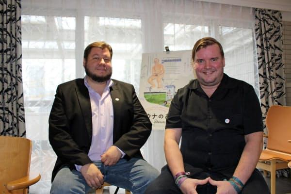 ヨーナス・バリヘル監督(左)とミカ・ホタカイネン監督