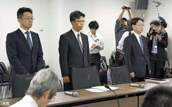 福井県高浜町議会の原子力対策特別委に出席した関電幹部ら(3日午前、福井県高浜町)=共同