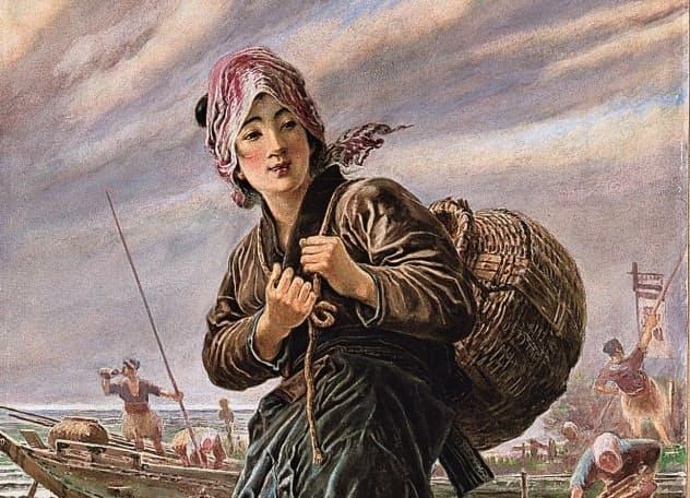 笠木治郎吉「漁師の娘」(1897~1912年ごろ、水彩、星野画廊蔵)