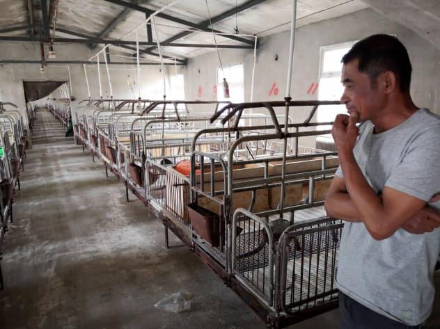 中国ではアフリカ豚コレラによる殺処分で豚がいなくなった豚舎も少なくない(遼寧省大連市)