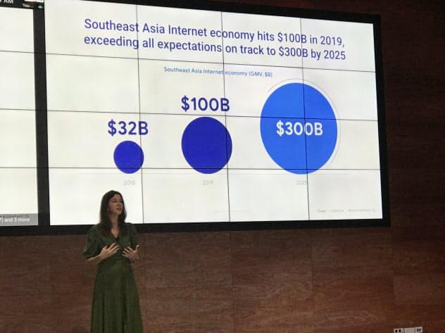 東南アジアのデジタル経済に関する調査結果を発表する米グーグルのデービス氏(3日、シンガポール)