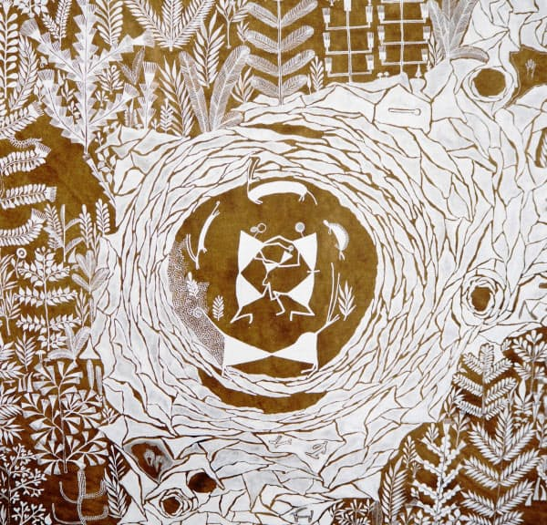 マユール・ワイェダが手掛けたインド少数民族に伝わる壁画(粟島)