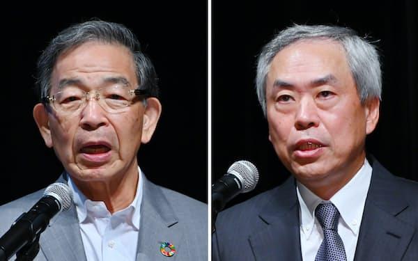 講演する森ビルの辻慎吾社長(右)と日本取引所グループの清田瞭CEO