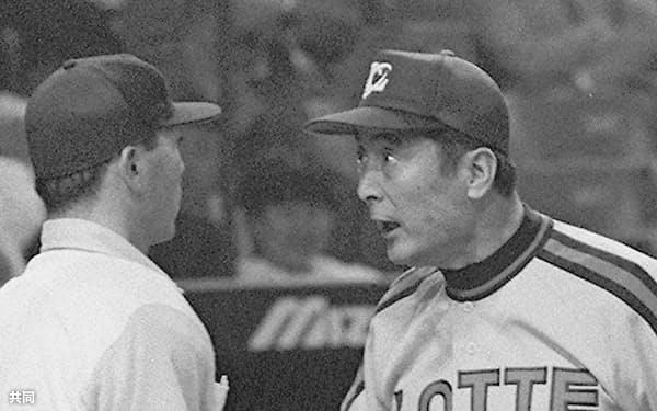 1991年5月、球審に抗議するロッテの金田正一監督(東京ドーム)=共同