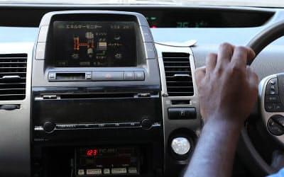 車内のモニターも日本語のまま表示されている