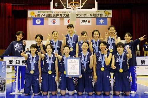 成年女子で優勝した愛知の選手たち(7日、リリーアリーナMITO)=共同
