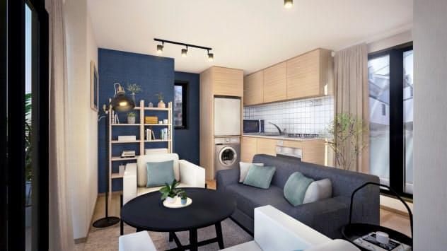 三菱地所が展開を始める共同住宅「コリビング」の個室(東京・渋谷)