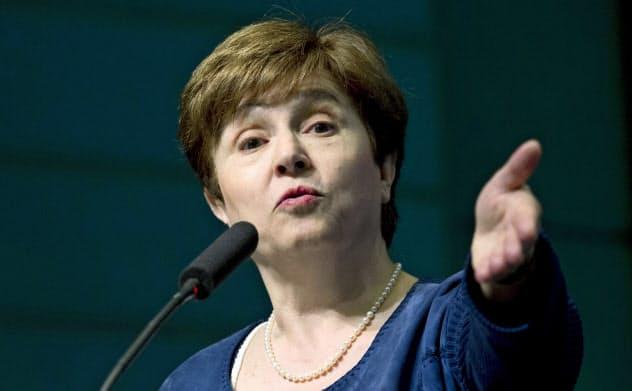 IMFのゲオルギエバ専務理事=AP