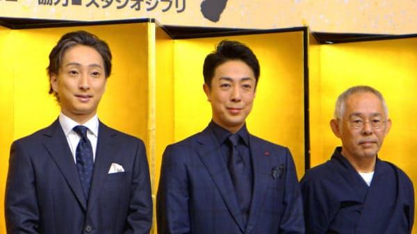 12月公演でナウシカを演じる菊之助(中央)、クシャナを演じる七之助(左)と、スタジオジブリの鈴木プロデューサー