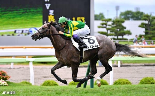 父と同じ函館で新馬戦を勝ったゴールドシップ産駒サトノゴールド=JRA提供