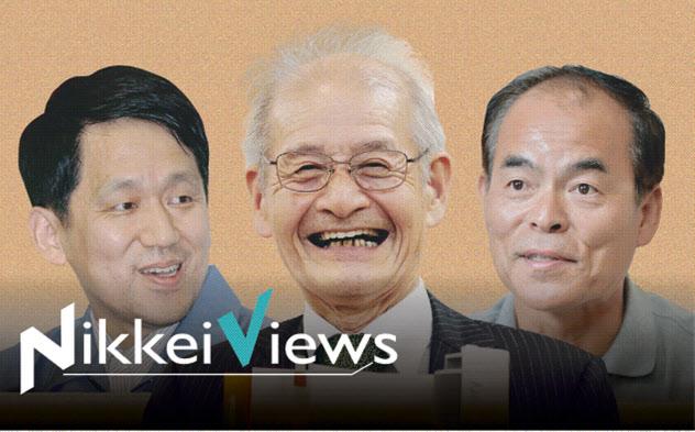 左から田中耕一・島津製作所シニアフェロー、吉野彰・旭化成名誉フェロー、中村修二・米カリフォルニア大教授