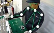 三菱電機の新システムは、人間の腰から上の骨格の動きを解析する