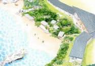 星野リゾートが沖縄県読谷村で開業予定の「バンタカフェ」(イメージ)