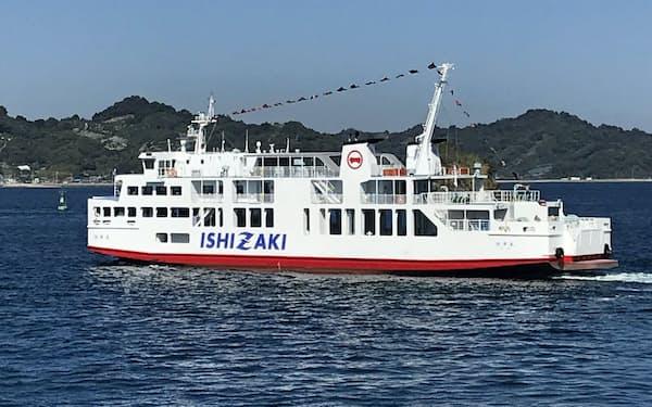 松山と呉、広島を結ぶ石崎汽船の新フェリー「旭洋丸」(10日、松山市)