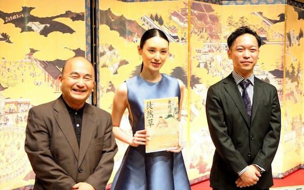 左から京響常任指揮者兼ミュージック・アドヴァイザーの広上淳一、女優の栗山千明、作曲家の酒井健治