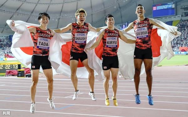 男子400メートルリレーで日本は2大会連続の銅。今回は狙いにいって取ったという点で前回大会より価値がある=共同
