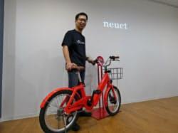 20年夏から本格投入する電動アシスト機能が付いた自転車の試作機(10日、福岡市)