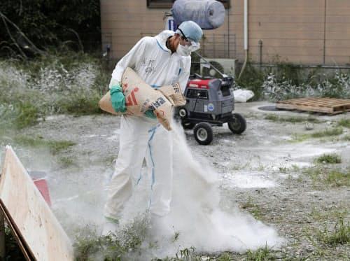 豚コレラが発生した岐阜県恵那市の養豚場で、石灰をまく作業員(9月22日)=共同