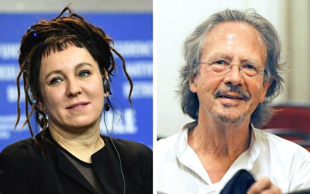 ノーベル文学賞を受賞したオルガ・トカルチュクさん(左)とペーター・ハントケさん=AP