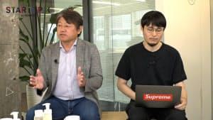 quantumの高松充社長(左)とオーディオレーベル「SOUNDS GOOD」の安藤紘代表