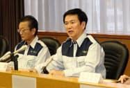 森田健作知事は災害対策本部の会議で、災害配備体制の拡大を宣言した(11日、千葉県庁)