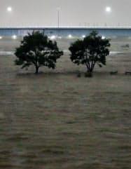 台風19号の影響で増水した多摩川(12日、川崎市高津区)