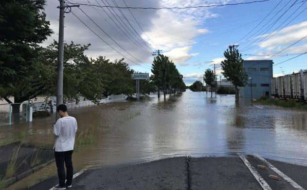 台風19号で冠水した郡山中央工業団地(福島県郡山市)
