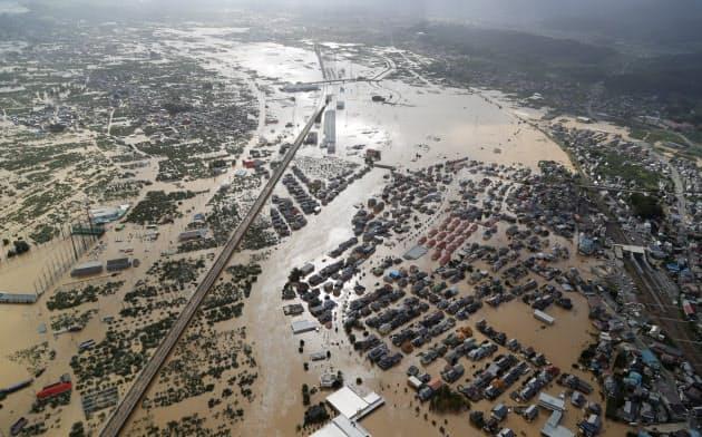 台風19号では家屋の浸水被害が広がった(長野市)