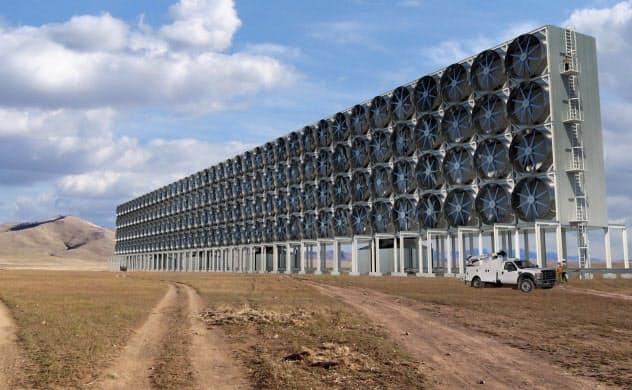 カーボン・エンジニアリング社が計画する二酸化炭素(CO2)除去装置の完成予想図(カーボン・エンジニアリング社提供)