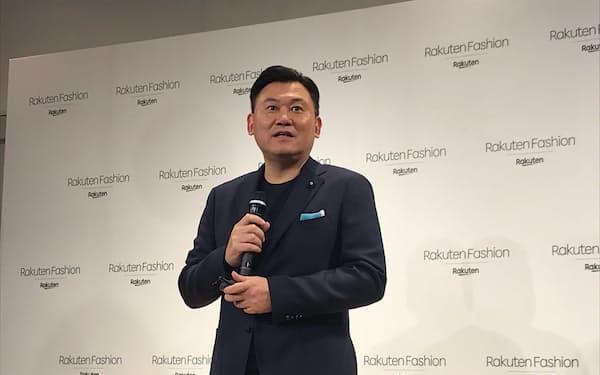 「楽天グループの強みを活用し、ファッションに関わるデジタルソリューションを提供したい」と語る楽天の三木谷会長兼社長