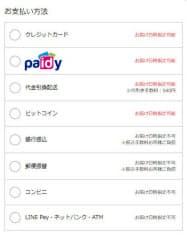 支払い方法を決める画面から「Paidy翌月払い」を選択できる(「ビックカメラ・ドットコム」の画面)